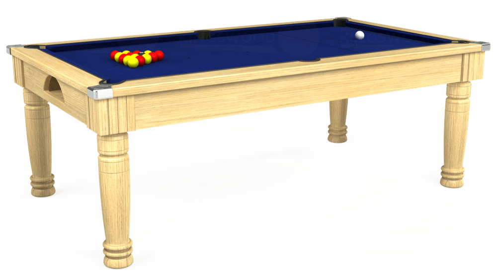 7ft Majestic Pool Dining Table in Light Oak with Hainsworth Elite-Pro Royal Blue cloth delivered and installed - £1,280.00