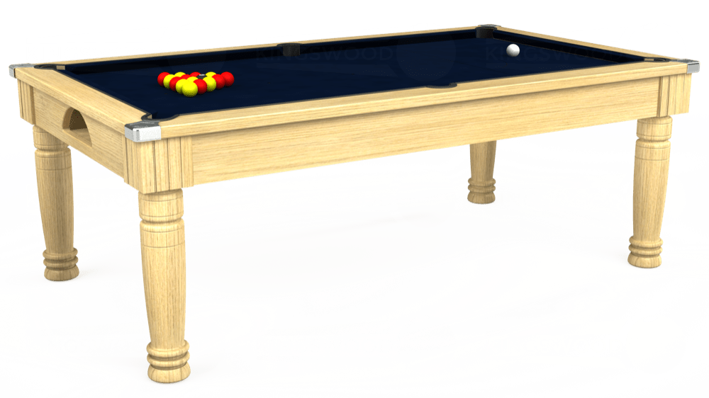 7ft Majestic Pool Dining Table in Light Oak with Hainsworth Smart French Navy cloth delivered and installed - £1,280.00