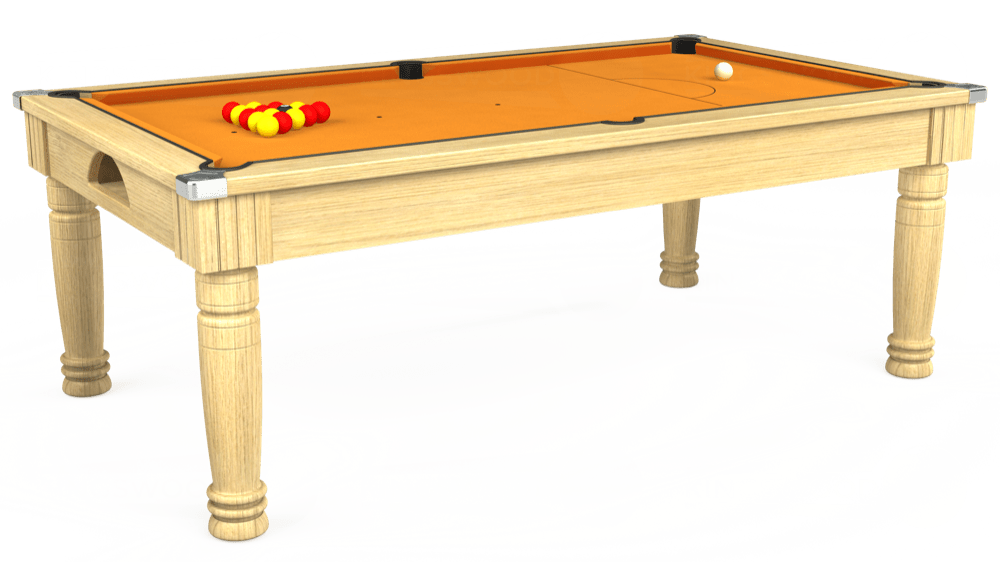 7ft Majestic Pool Dining Table in Light Oak with Hainsworth Smart Gold cloth delivered and installed - £1,280.00