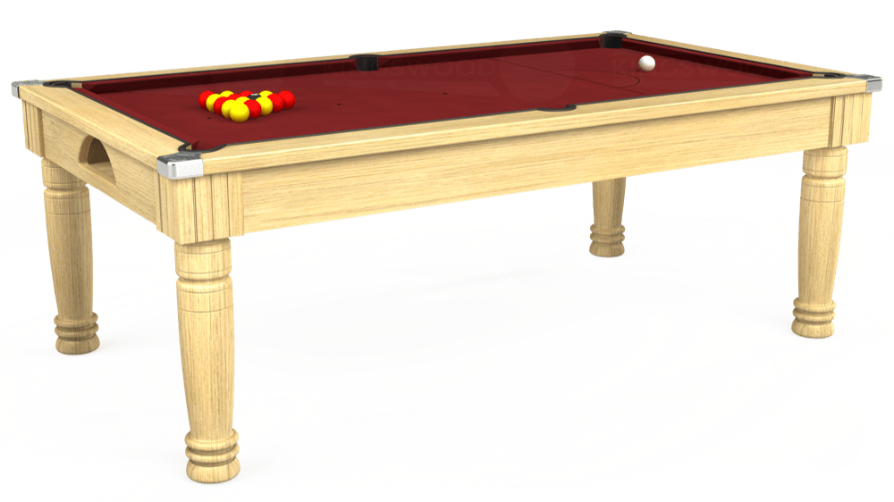 7ft Majestic Pool Dining Table in Light Oak with Hainsworth Smart Maroon cloth delivered and installed - £1,280.00