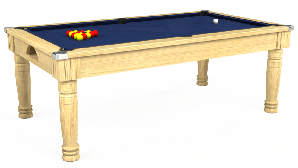 7ft Majestic Pool Dining Table in Light Oak with Hainsworth Smart Royal Navy cloth delivered and installed - £1,280.00