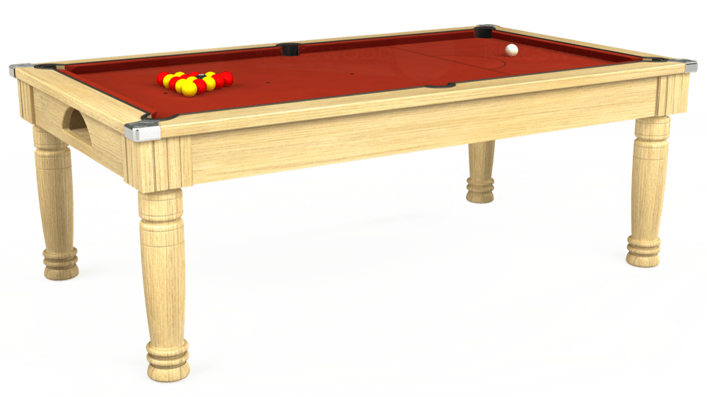 7ft Majestic Pool Dining Table in Light Oak with Hainsworth Smart Paprika cloth delivered and installed - £1,280.00