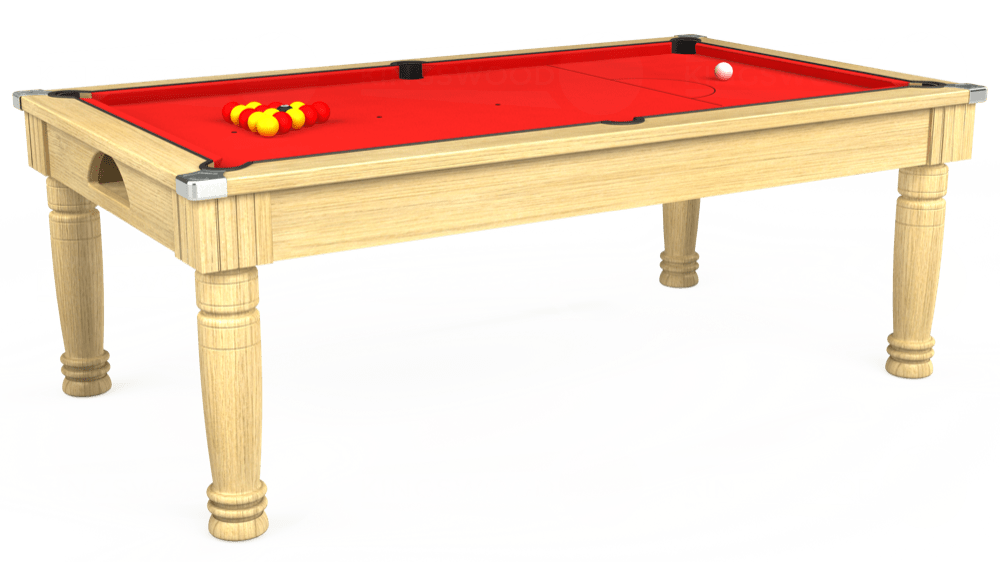7ft Majestic Pool Dining Table in Light Oak with Hainsworth Smart Red cloth delivered and installed - £1,280.00