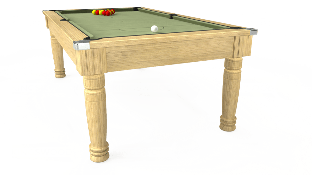 7ft Majestic Pool Dining Table in Light Oak with Hainsworth Smart Sage cloth delivered and installed - £1,160.00