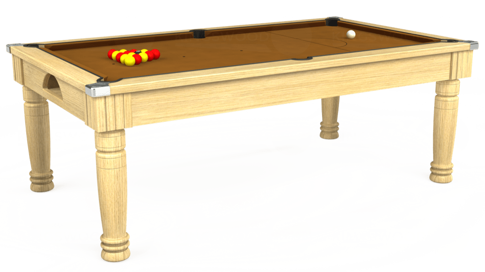 7ft Majestic Pool Dining Table in Light Oak with Hainsworth Smart Tan cloth delivered and installed - £1,280.00