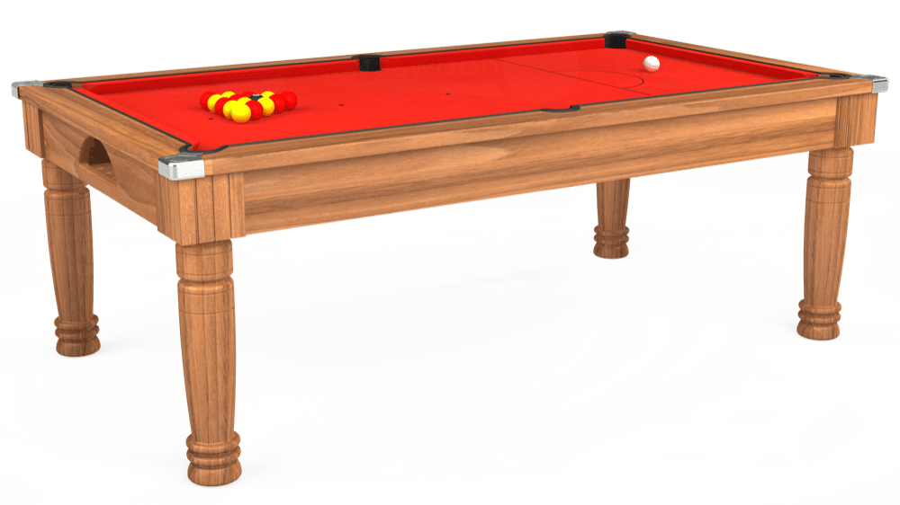 7ft Majestic Pool Dining Table in Light Walnut with Hainsworth Elite-Pro Bright Red cloth delivered and installed - £1,280.00