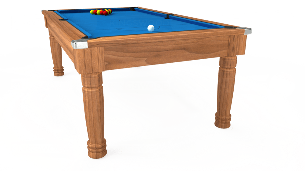 7ft Majestic Pool Dining Table in Light Walnut with Hainsworth Elite-Pro Electric Blue cloth delivered and installed - £1,280.00