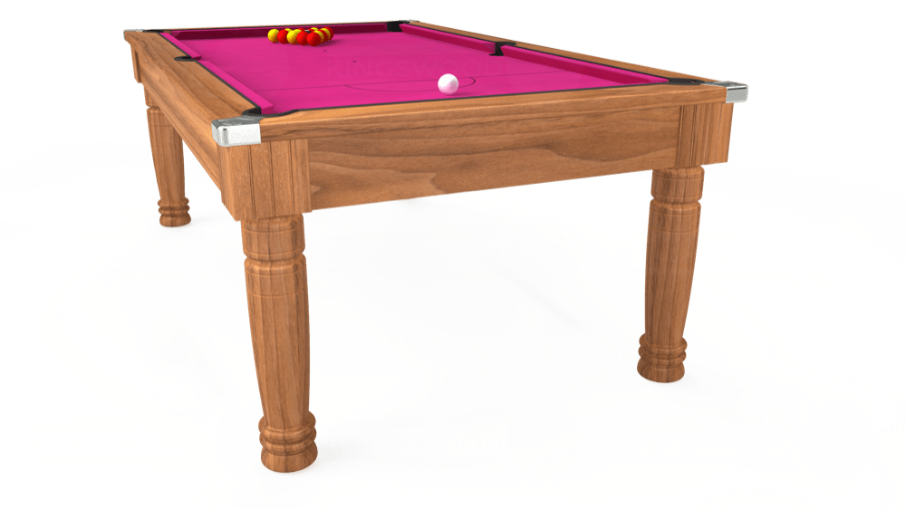 7ft Majestic Pool Dining Table in Light Walnut with Hainsworth Elite-Pro Fuchsia cloth delivered and installed - £1,280.00