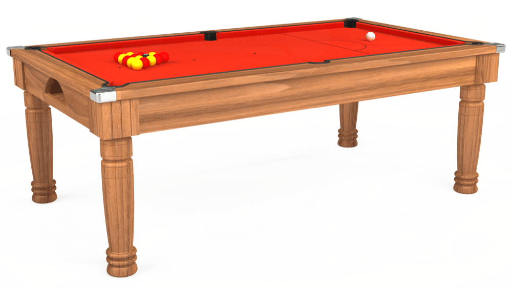 7ft Majestic Pool Dining Table in Light Walnut with Hainsworth Elite-Pro Orange cloth delivered and installed - £1,280.00