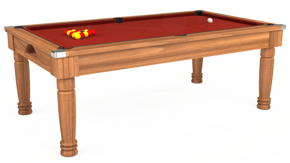 7ft Majestic Pool Dining Table in Light Walnut with Hainsworth Smart Cherry cloth delivered and installed - £1,280.00
