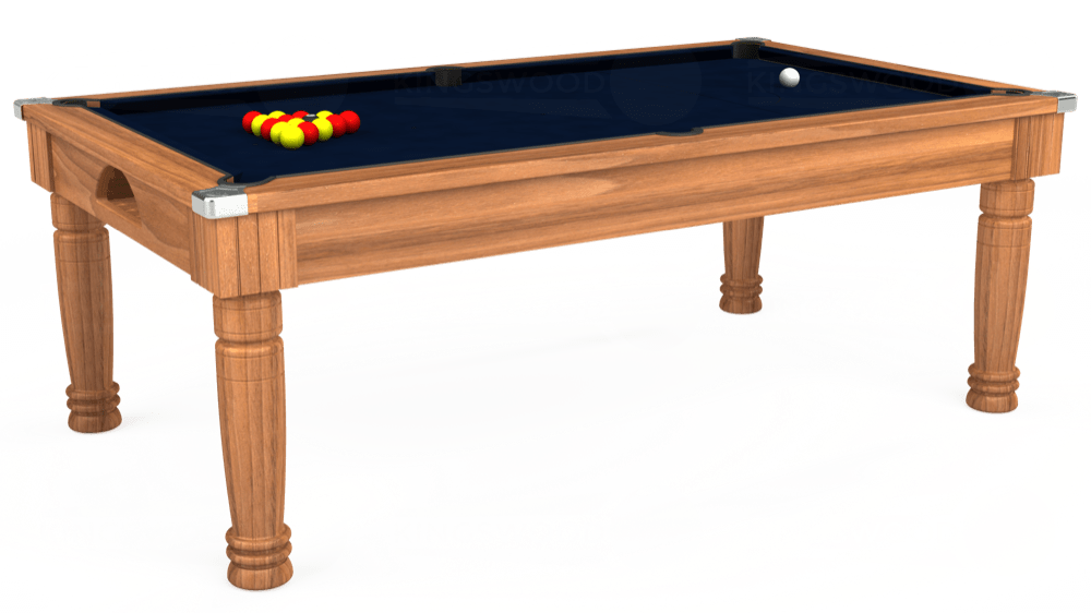 7ft Majestic Pool Dining Table in Light Walnut with Hainsworth Smart French Navy cloth delivered and installed - £1,280.00