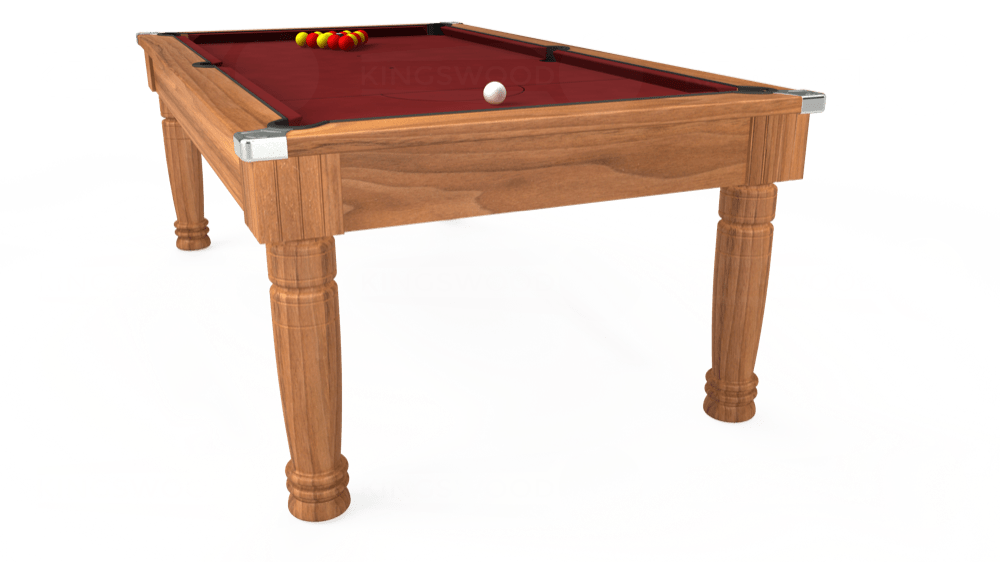 7ft Majestic Pool Dining Table in Light Walnut with Hainsworth Smart Maroon cloth delivered and installed - £1,280.00
