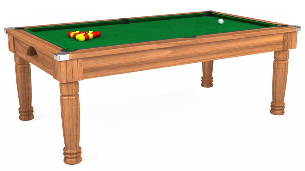 7ft Majestic Pool Dining Table in Light Walnut with Hainsworth Smart Olive cloth delivered and installed - £1,280.00