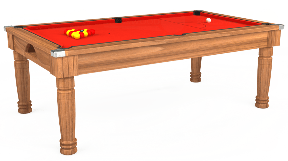 7ft Majestic Pool Dining Table in Light Walnut with Hainsworth Smart Orange cloth delivered and installed - £1,280.00