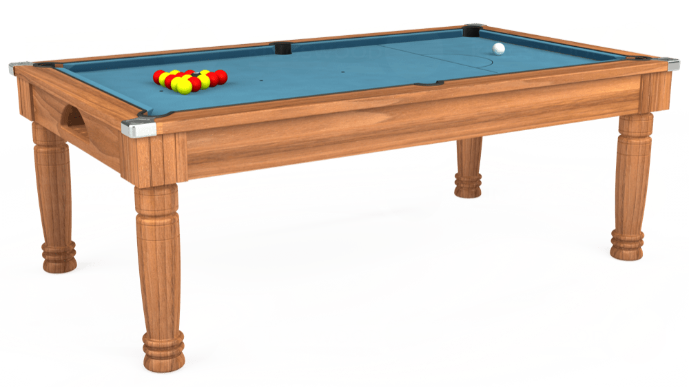 7ft Majestic Pool Dining Table in Light Walnut with Hainsworth Smart Powder Blue cloth delivered and installed - £1,280.00