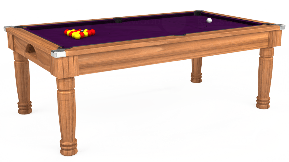 7ft Majestic Pool Dining Table in Light Walnut with Hainsworth Smart Purple cloth delivered and installed - £1,280.00