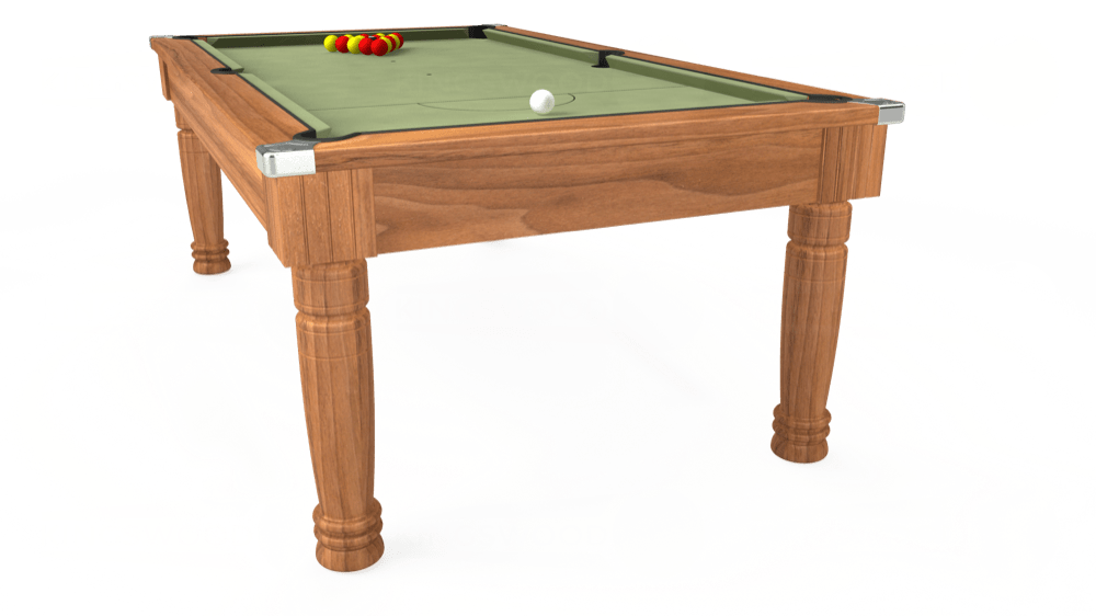 7ft Majestic Pool Dining Table in Light Walnut with Hainsworth Smart Sage cloth delivered and installed - £1,280.00