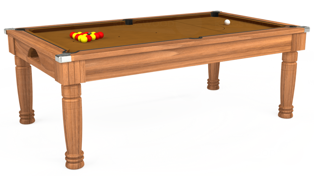 7ft Majestic Pool Dining Table in Light Walnut with Hainsworth Smart Tan cloth delivered and installed - £1,280.00