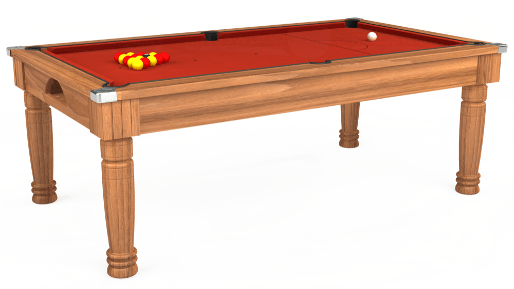 7ft Majestic Pool Dining Table in Light Walnut with Hainsworth Smart Windsor Red cloth delivered and installed - £1,150.00