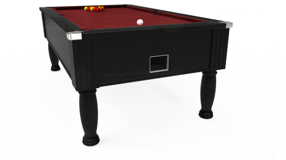 7ft Monarch Free Play Pool Table in Black with Hainsworth Elite-Pro Burgundy cloth delivered and installed - £1,250.00