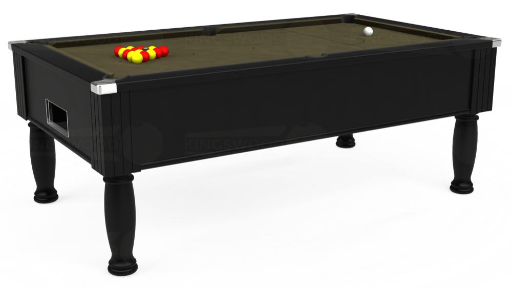 7ft Monarch Free Play Pool Table in Black with Hainsworth Elite-Pro Olive cloth delivered and installed - £1,250.00