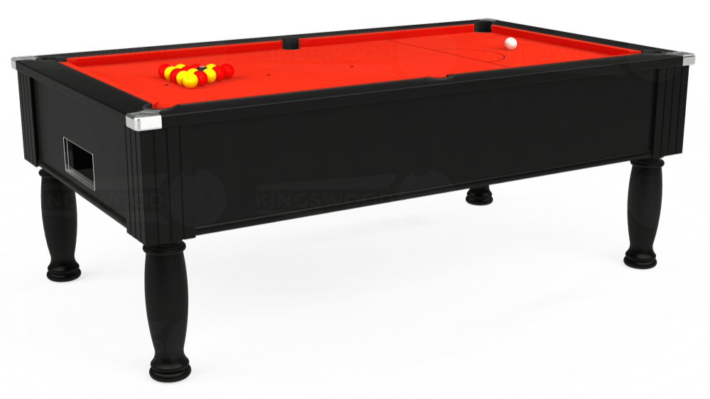 7ft Monarch Free Play Pool Table in Black with Hainsworth Elite-Pro Orange cloth delivered and installed - £1,250.00