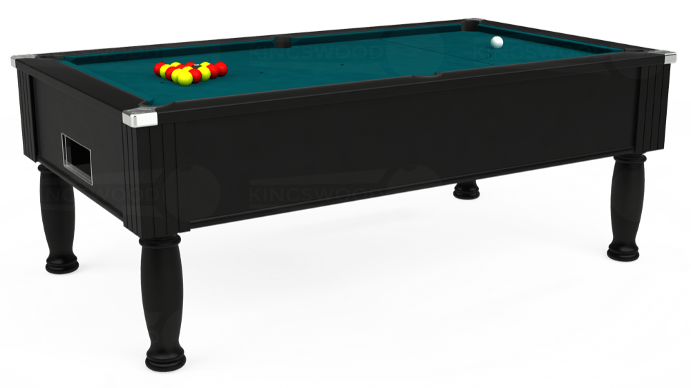 7ft Monarch Free Play Pool Table in Black with Hainsworth Elite-Pro Petrol Blue cloth delivered and installed - £1,250.00