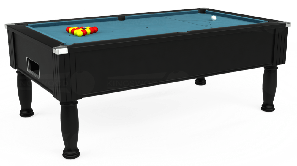 7ft Monarch Free Play Pool Table in Black with Hainsworth Elite-Pro Powder Blue cloth delivered and installed - £1,250.00