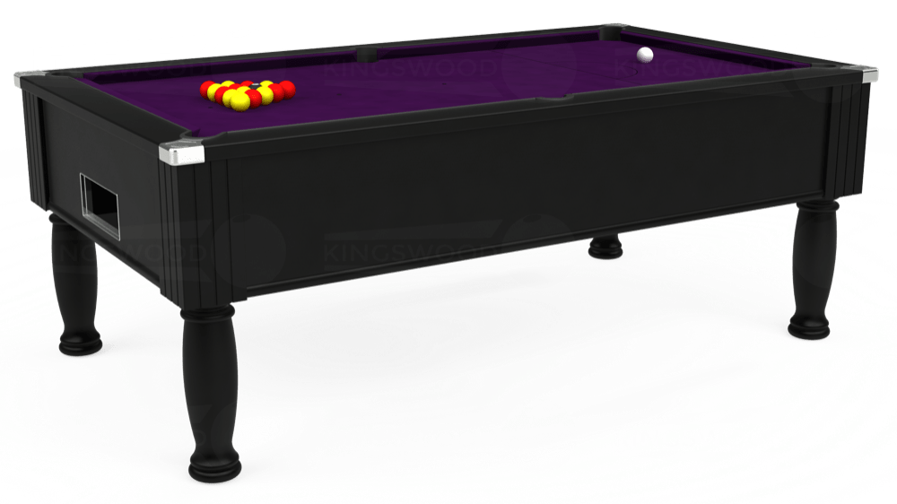 7ft Monarch Free Play Pool Table in Black with Hainsworth Elite-Pro Purple cloth delivered and installed - £1,250.00