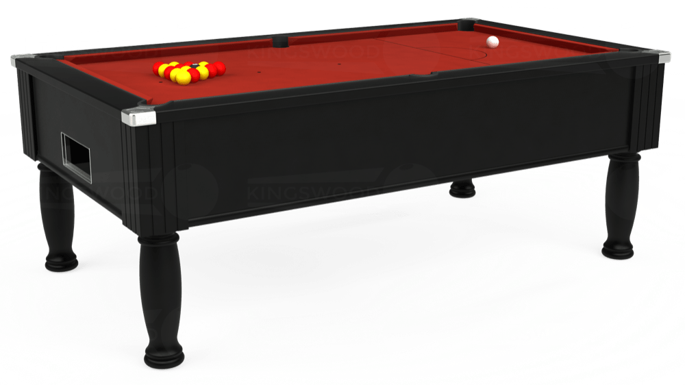 7ft Monarch Free Play Pool Table in Black with Hainsworth Elite-Pro Red cloth delivered and installed - £1,250.00