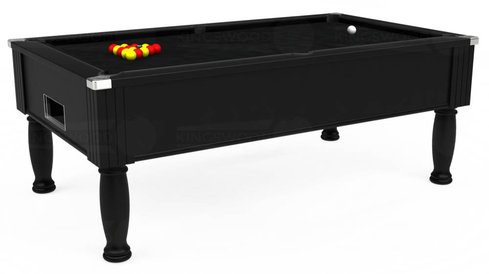 7ft Monarch Free Play Pool Table in Black with Hainsworth Smart Black cloth delivered and installed - £1,250.00