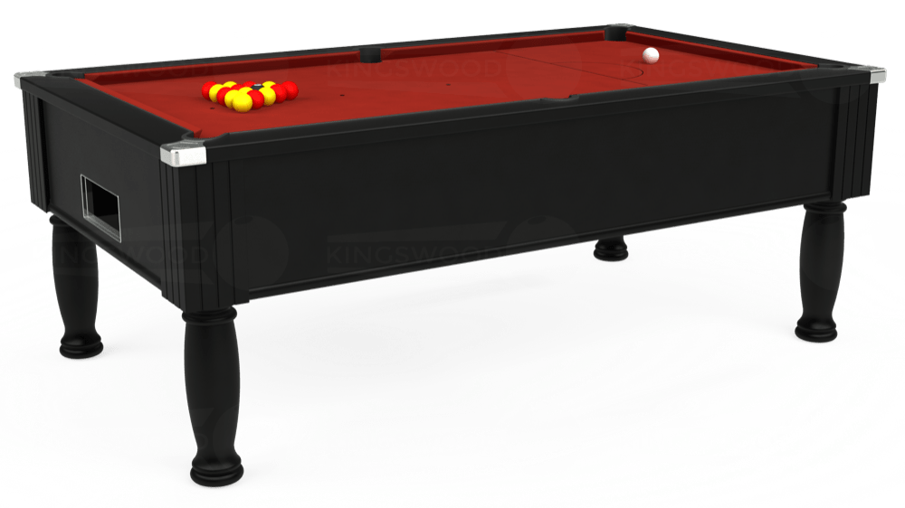 7ft Monarch Free Play Pool Table in Black with Hainsworth Smart Cherry cloth delivered and installed - £1,250.00
