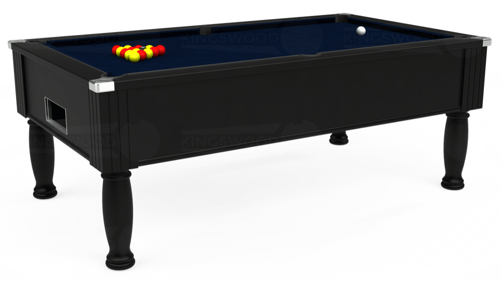 7ft Monarch Free Play Pool Table in Black with Hainsworth Smart French Navy cloth delivered and installed - £1,250.00