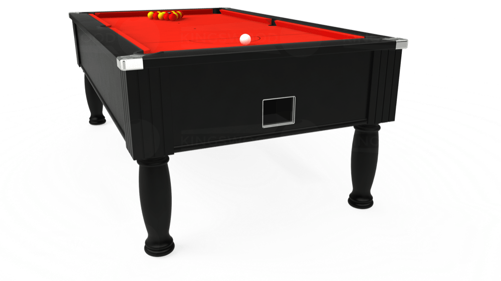7ft Monarch Free Play Pool Table in Black with Hainsworth Smart Orange cloth delivered and installed - £1,250.00