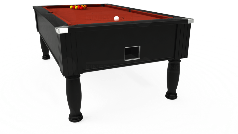 7ft Monarch Free Play Pool Table in Black with Hainsworth Smart Paprika cloth delivered and installed - £1,250.00