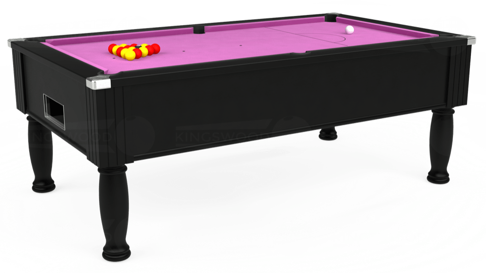 7ft Monarch Free Play Pool Table in Black with Hainsworth Smart Pink cloth delivered and installed - £1,250.00
