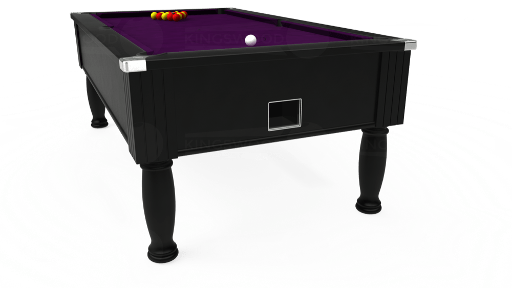 7ft Monarch Free Play Pool Table in Black with Hainsworth Smart Purple cloth delivered and installed - £1,250.00