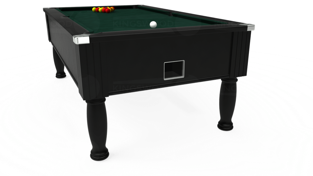 7ft Monarch Free Play Pool Table in Black with Hainsworth Smart Ranger Green cloth delivered and installed - £1,250.00