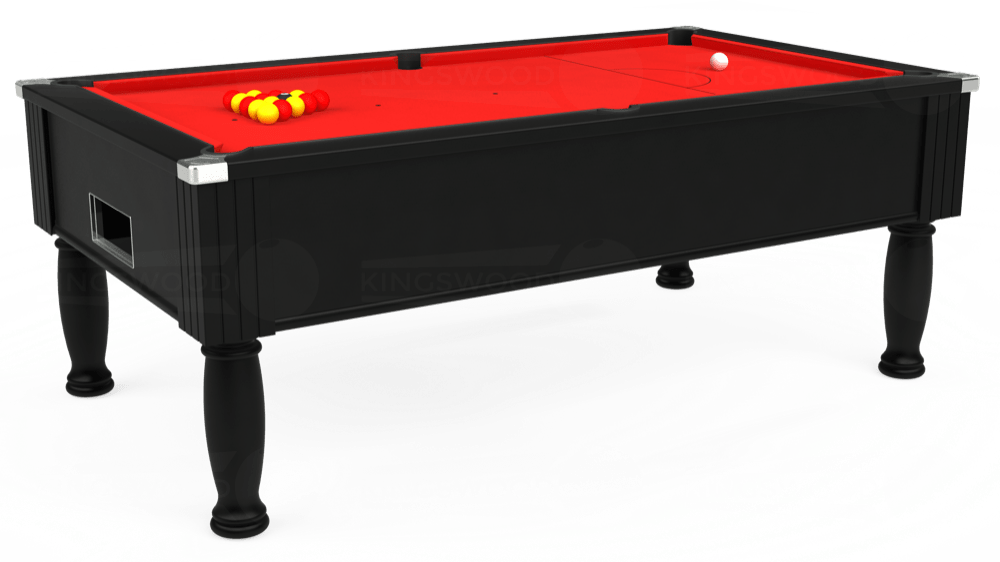 7ft Monarch Free Play Pool Table in Black with Hainsworth Smart Red cloth delivered and installed - £1,250.00