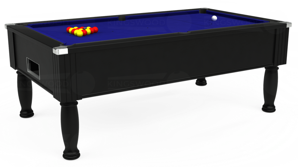 7ft Monarch Free Play Pool Table in Black with Hainsworth Smart Royal Blue cloth delivered and installed - £1,250.00
