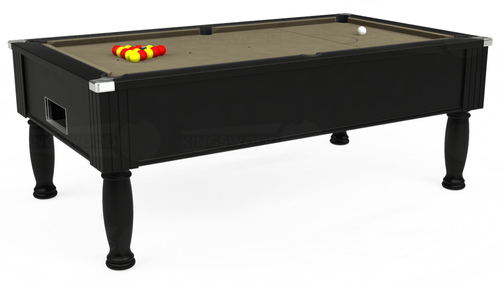 7ft Monarch Free Play Pool Table in Black with Hainsworth Smart Taupe cloth delivered and installed - £1,250.00