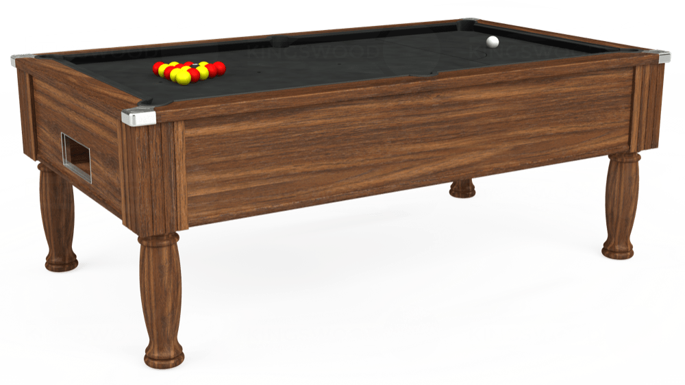 7ft Monarch Free Play Pool Table in Dark Walnut with Standard Black cloth delivered and installed - £1,070.00