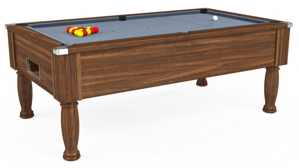 7ft Monarch Free Play Pool Table in Dark Walnut with Hainsworth Elite-Pro Bankers Grey cloth delivered and installed - £1,250.00