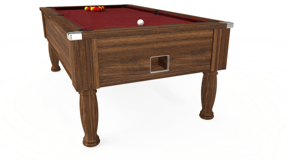 7ft Monarch Free Play Pool Table in Dark Walnut with Hainsworth Elite-Pro Burgundy cloth delivered and installed - £1,250.00