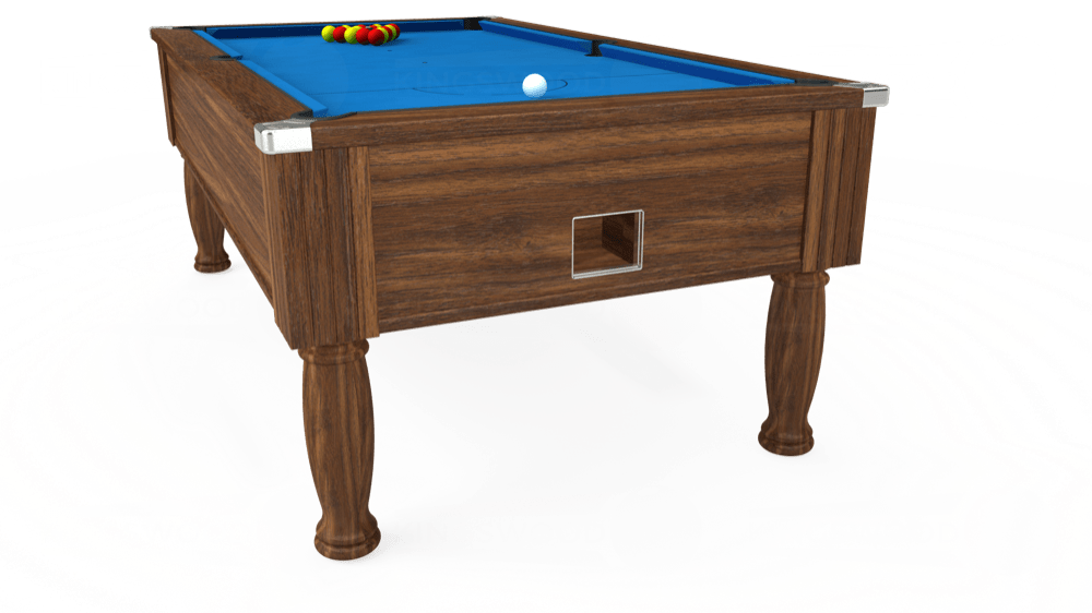 7ft Monarch Free Play Pool Table in Dark Walnut with Hainsworth Elite-Pro Electric Blue cloth delivered and installed - £1,250.00