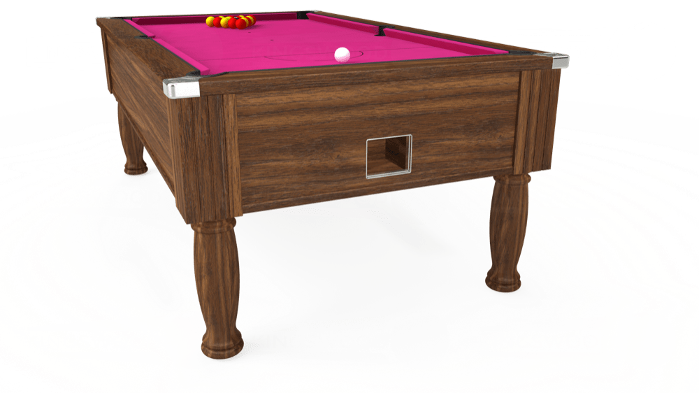 7ft Monarch Free Play Pool Table in Dark Walnut with Hainsworth Elite-Pro Fuchsia cloth delivered and installed - £1,250.00