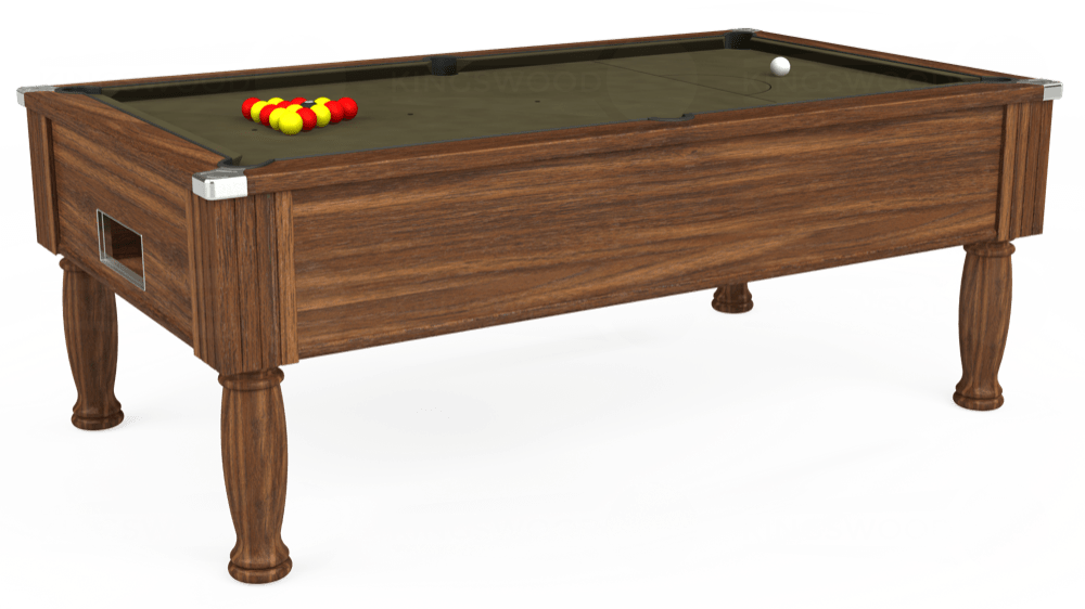 7ft Monarch Free Play Pool Table in Dark Walnut with Hainsworth Elite-Pro Olive cloth delivered and installed - £1,170.00