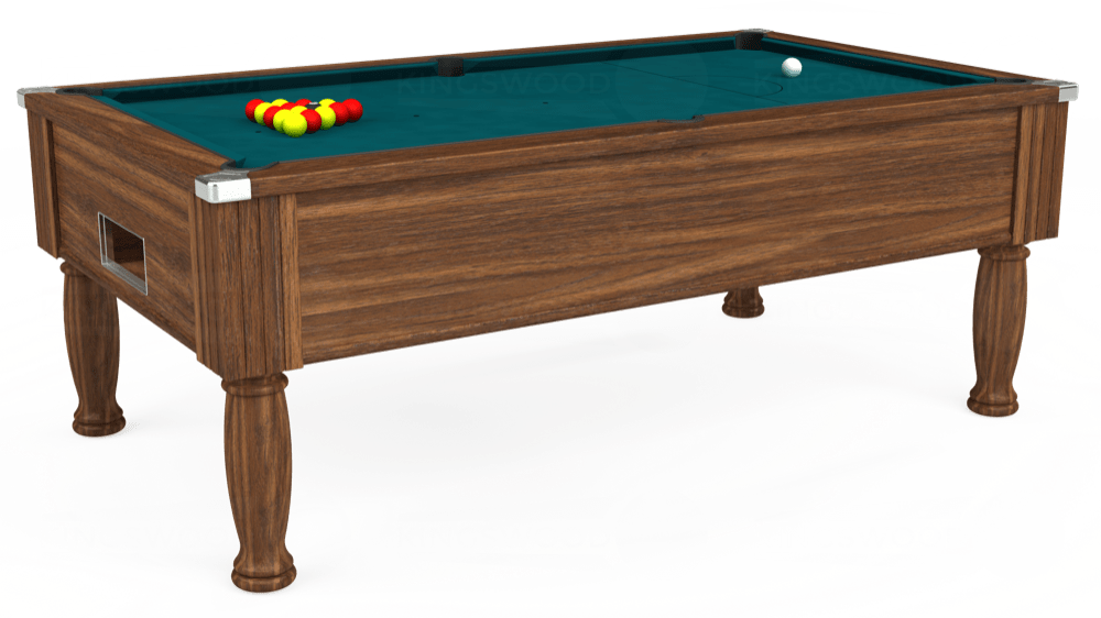 7ft Monarch Free Play Pool Table in Dark Walnut with Hainsworth Elite-Pro Petrol Blue cloth delivered and installed - £1,170.00