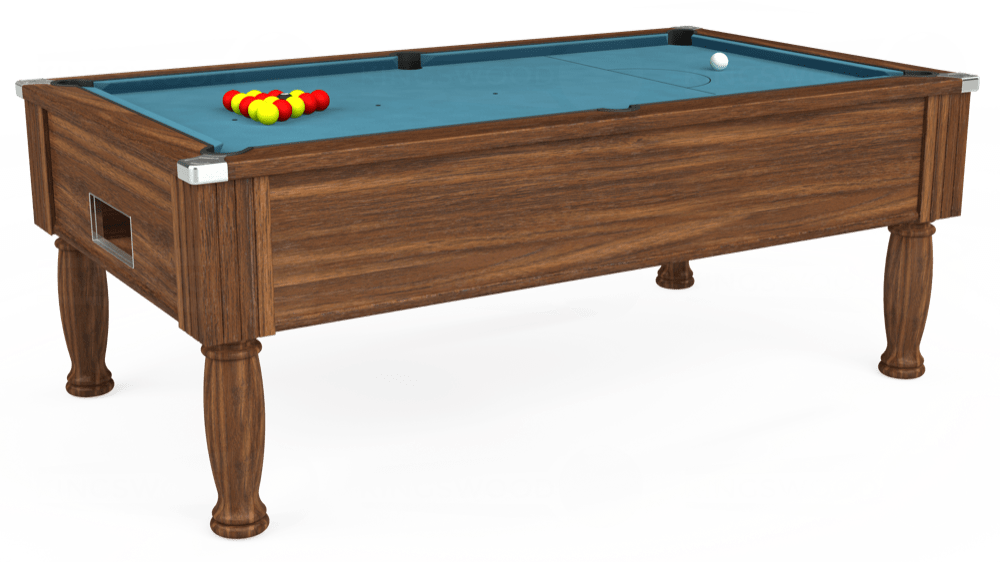 7ft Monarch Free Play Pool Table in Dark Walnut with Hainsworth Elite-Pro Powder Blue cloth delivered and installed - £1,250.00