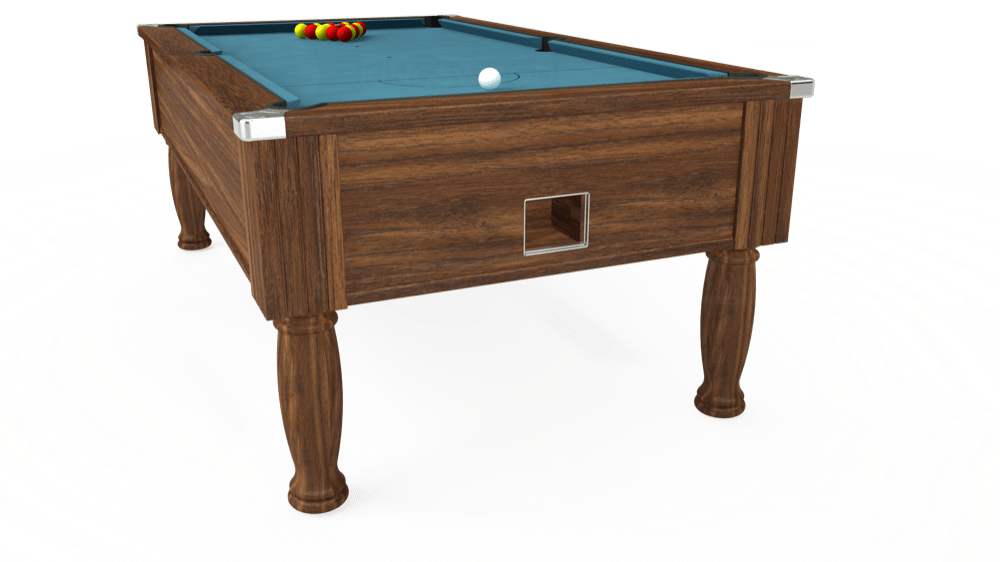 7ft Monarch Free Play Pool Table in Dark Walnut with Hainsworth Elite-Pro Powder Blue cloth delivered and installed - £1,170.00